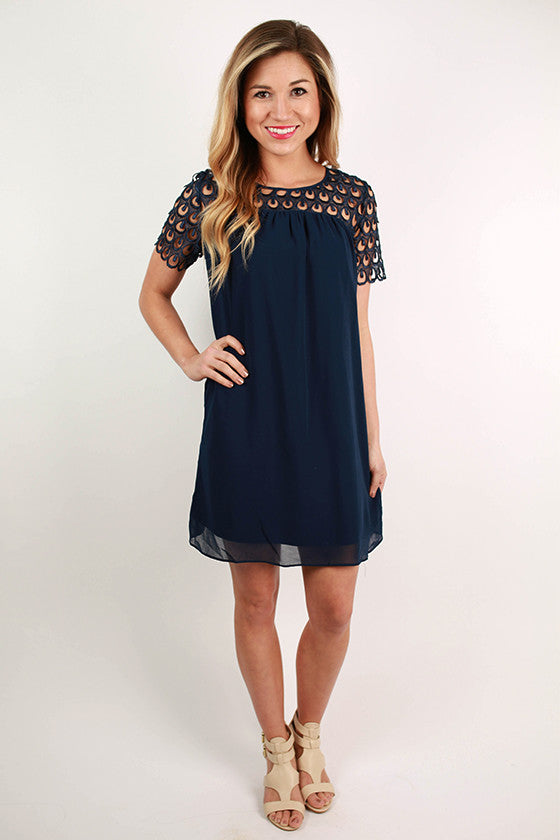Off to the Races Dress in Navy