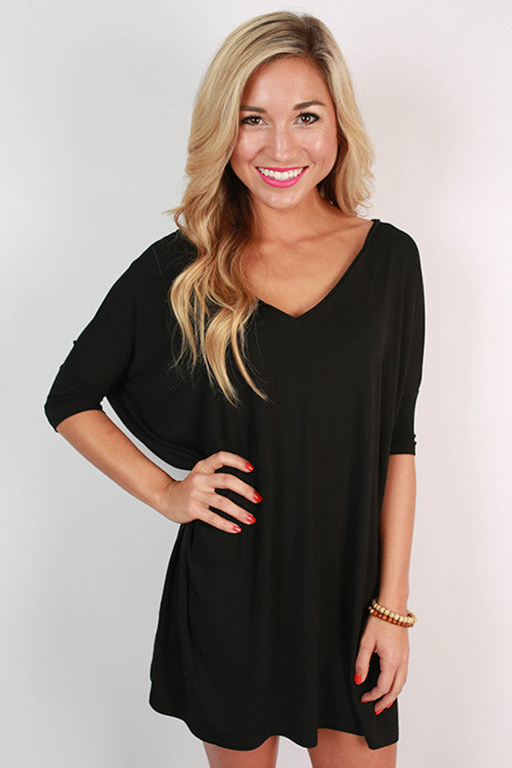 2bc25ff123a PIKO Short Sleeve V-Neck Tunic in Black • Impressions Online Boutique