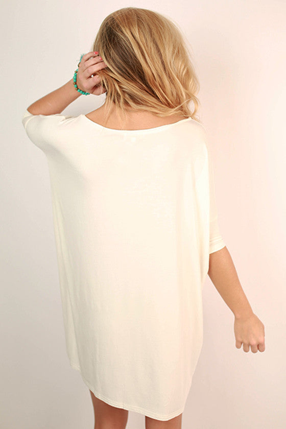 PIKO Short Sleeve V-Neck Tunic in Off White