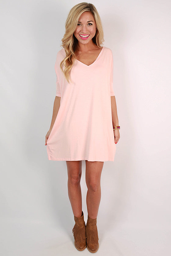 PIKO Short Sleeve V-Neck Tunic in Light Peach