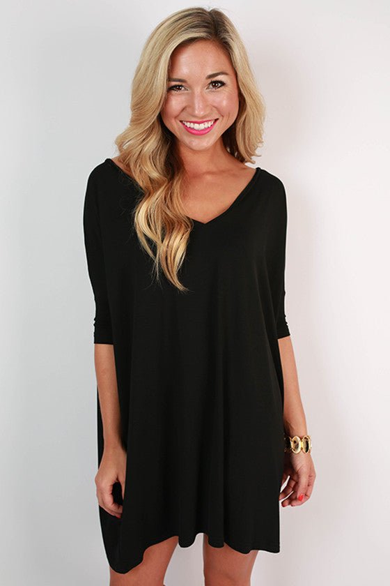 PIKO V-Neck Shift Dress in Black