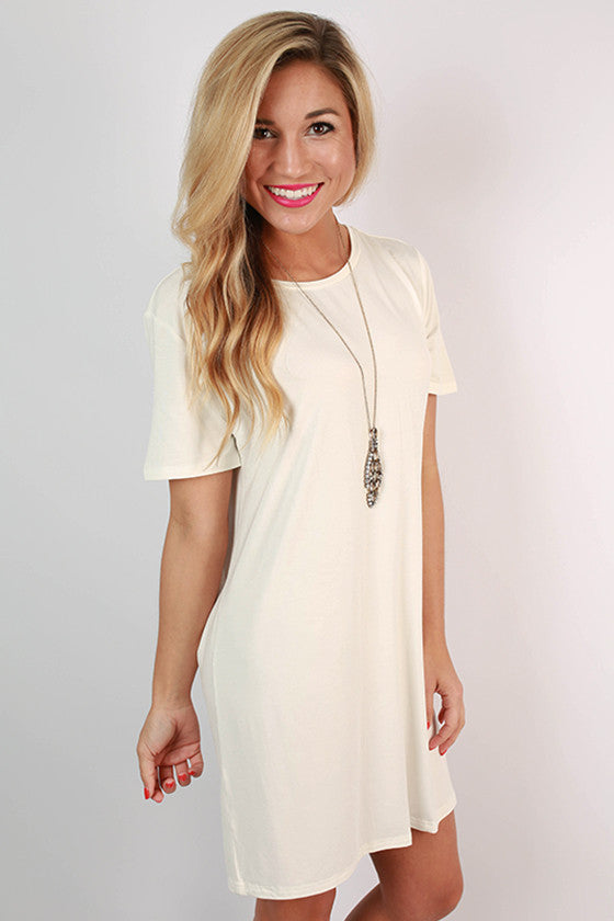 PIKO Scoop Neck Shift Dress in Off White