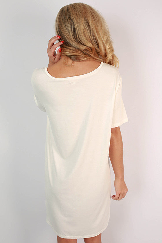 PIKO V-Neck Shift Dress in Off White