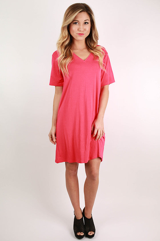 PIKO V-Neck Shift Dress in Watermelon