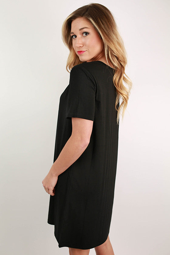 PIKO Scoop Neck Shift Dress in Black