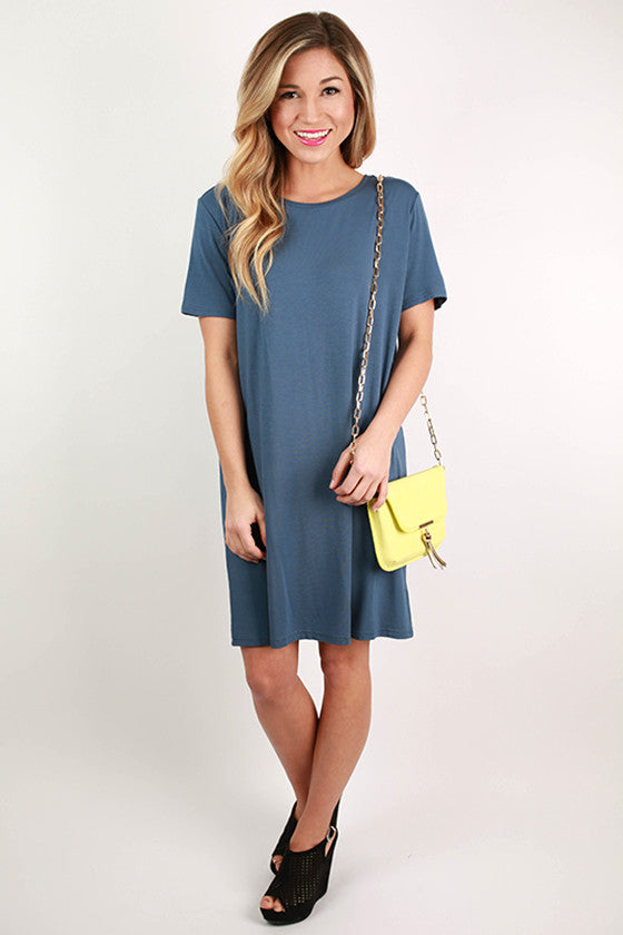 PIKO Scoop Neck Shift Dress in Navy