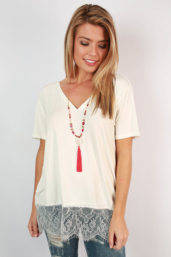 PIKO V-Neck Lace Trim Tee in Off White