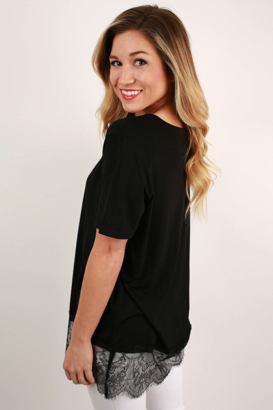 PIKO V-Neck Lace Trim Tee in Black
