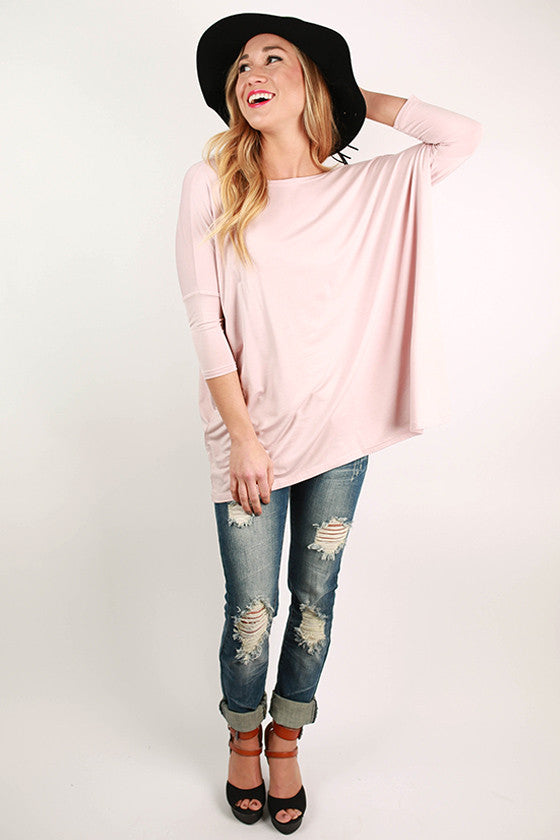 PIKO Mid Sleeve Tee in Dusty Pink