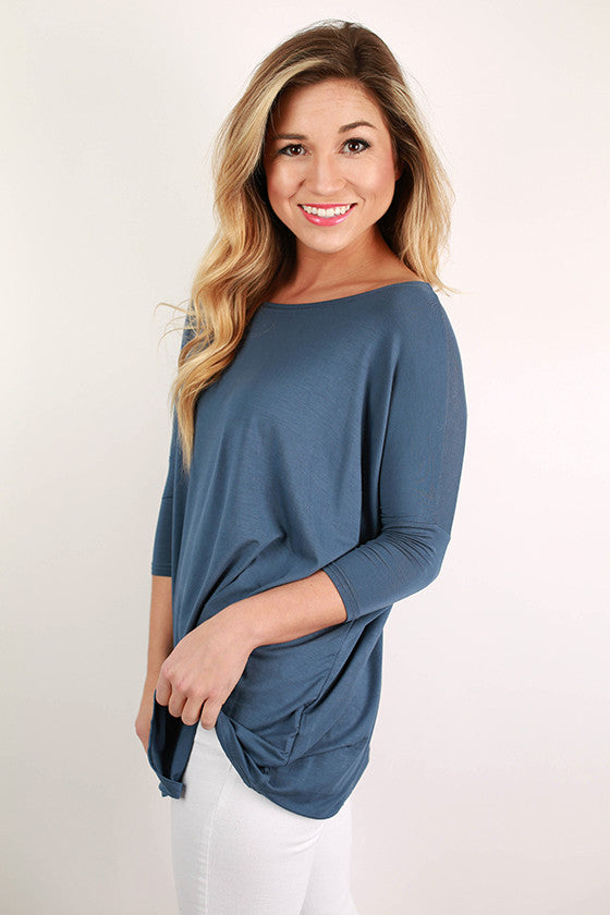 PIKO Mid Sleeve Tee in Navy