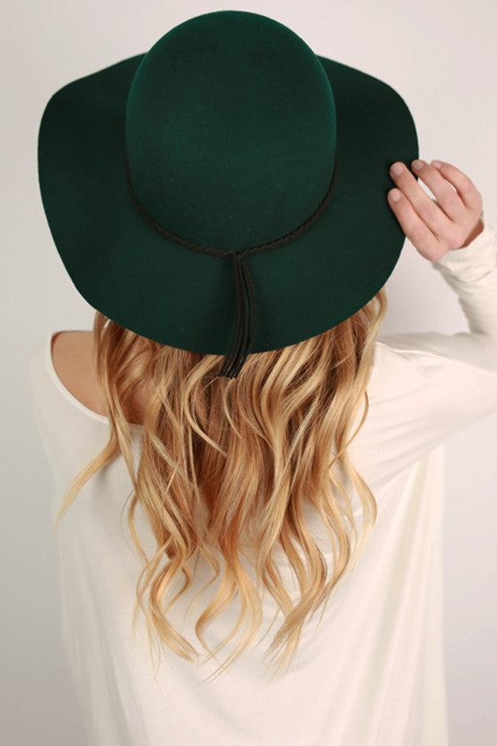 After The Runway Hat in Hunter Green