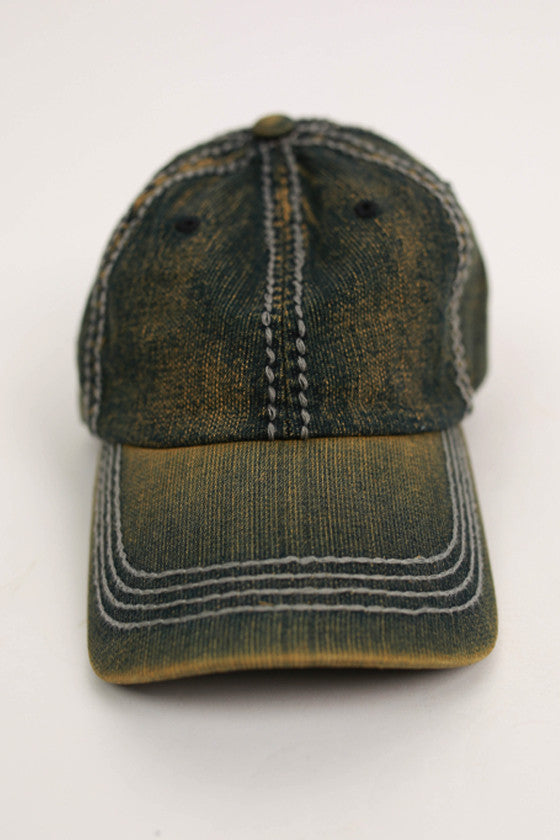 Field of Dreams Baseball Cap in Green Denim