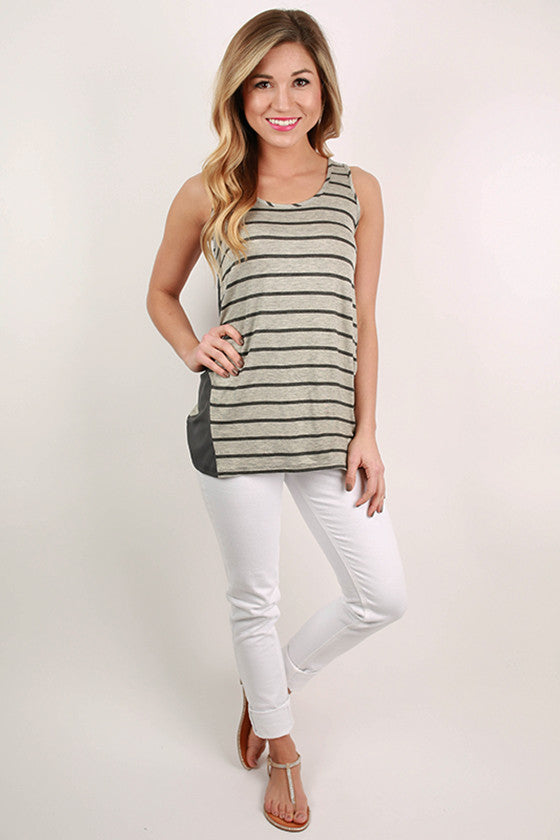 Basic Stripe Tank in Grey