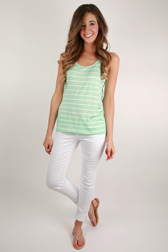 Basic Stripe Tank in Mint