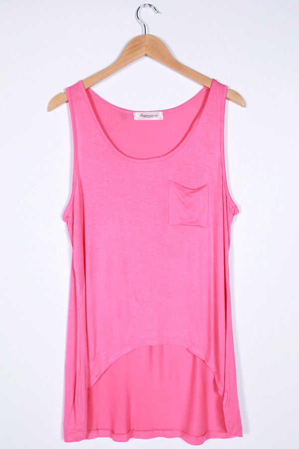 Basic Hi-Lo Pocket Tank in Pink