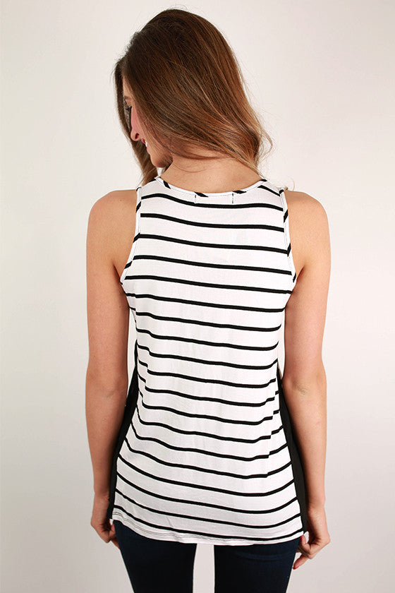Basic Stripe Tank in White