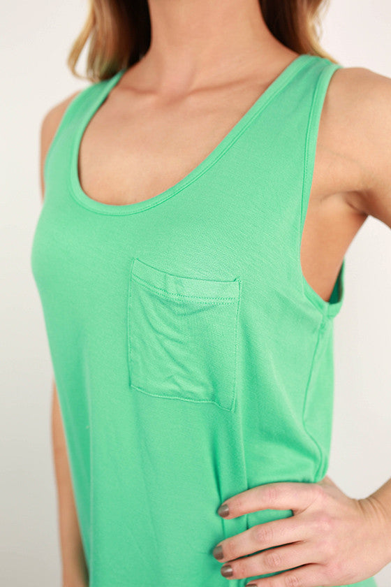 Basic Hi-Lo Pocket Tank in Mint