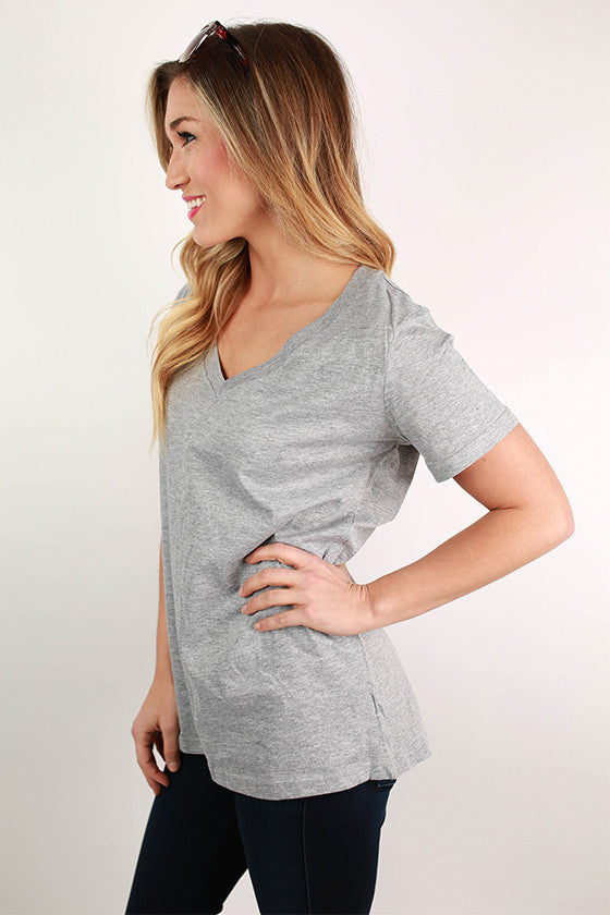 Basic V-Neck Tee in Grey