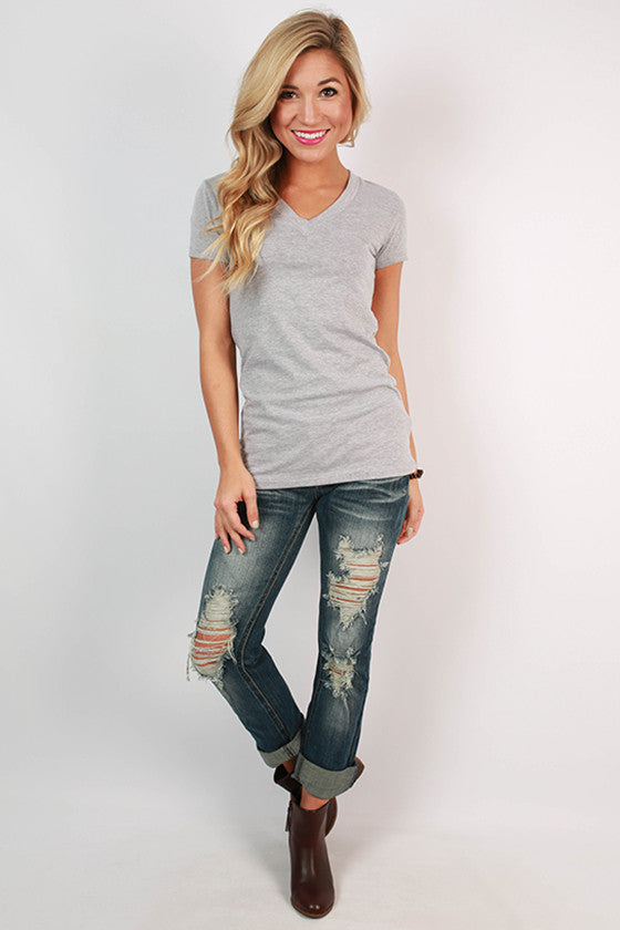 Basic Feminine Fit V-Tee in Grey