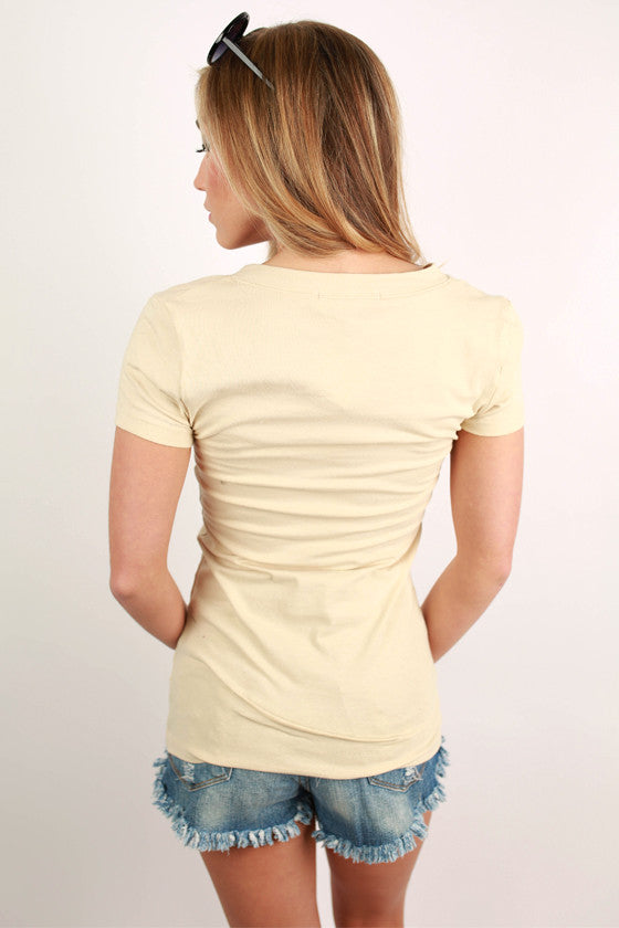 Basic Feminine Fit V-Tee in Beige