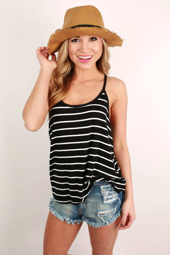 Basic Spaghetti Strap Stripe Tank in Black