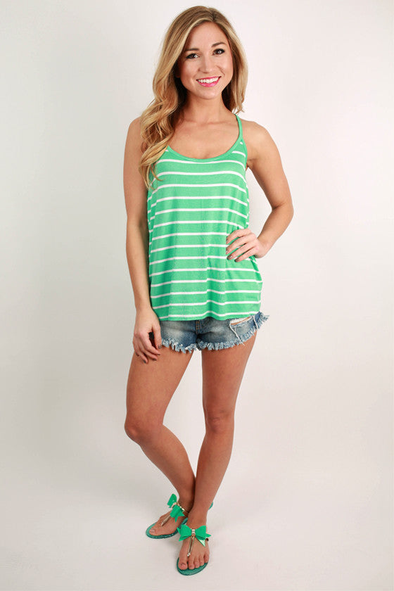 Basic Spaghetti Strap Stripe Tank in Ocean Wave