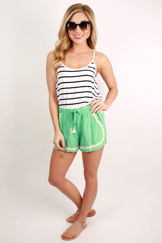 Basic Spaghetti Strap Stripe Tank in White
