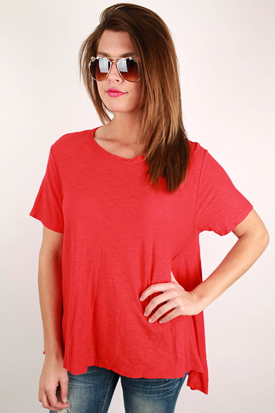 Keepsake Scoop Neck Swing Tee in Red