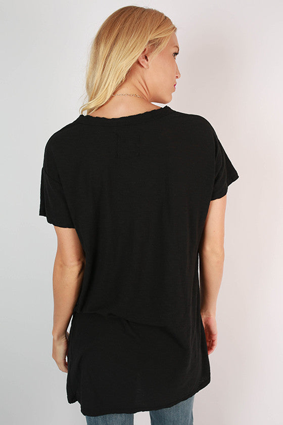 Keepsake Frayed V-Neck Tee in Black
