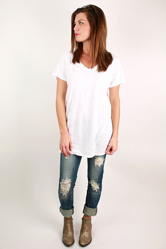 Keepsake Frayed V-Neck Tee in White