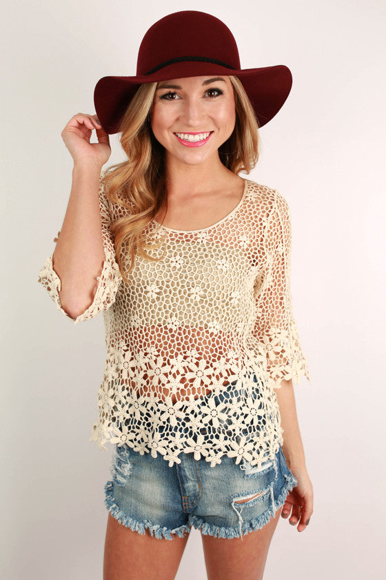 Crochet Gathering Top in Ivory