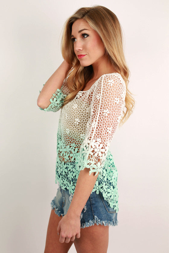 Crochet Grace Top in Aqua