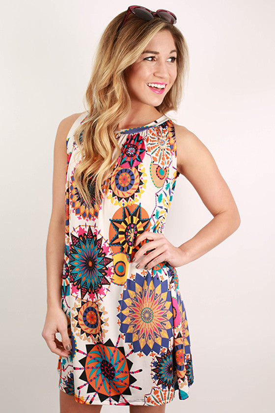 Island Party Shift Dress in White