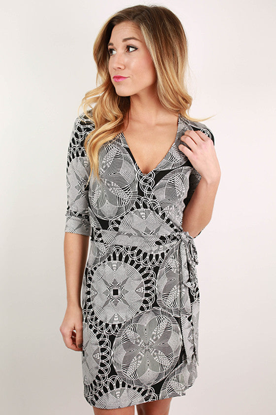 Figure Flattering Wrap Dress in Black