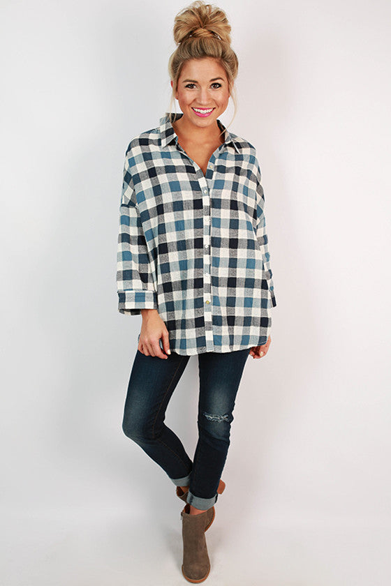 Warm Southern Breeze Button Up Top in Blue