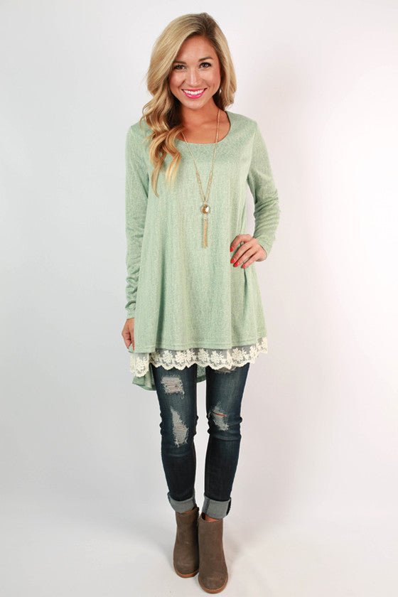 Lace & Laughter Knit Top in Pear