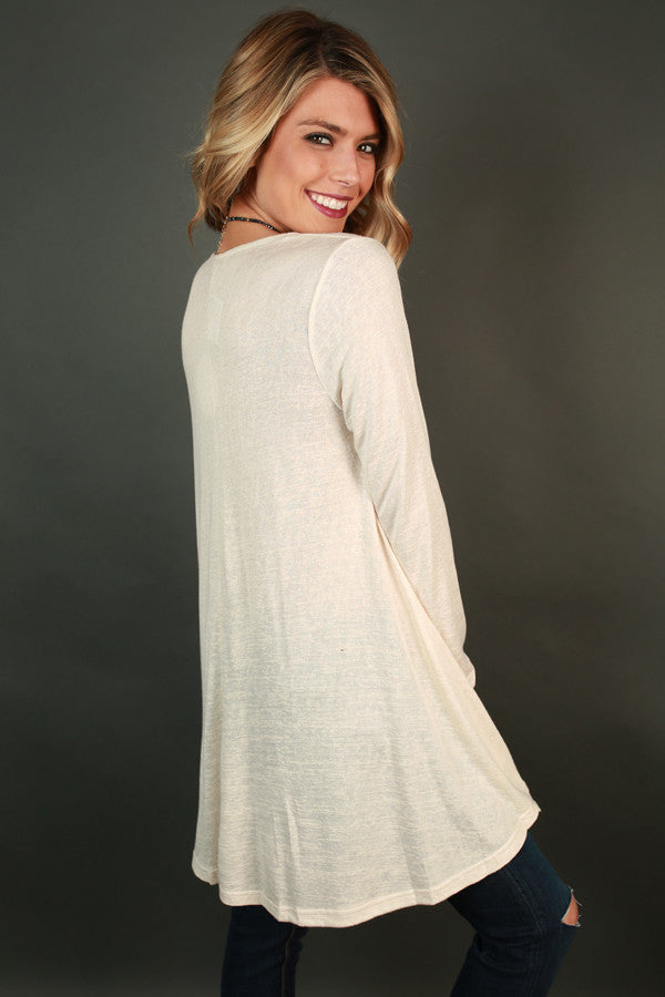 Lace & Laughter Knit Top in Cream