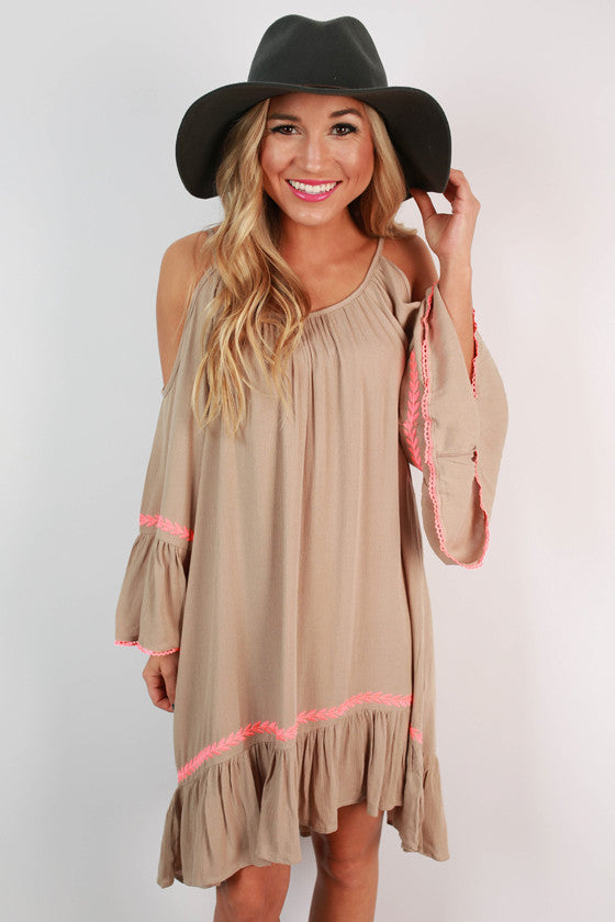 Instant Icon Bell Sleeve Dress in Taupe
