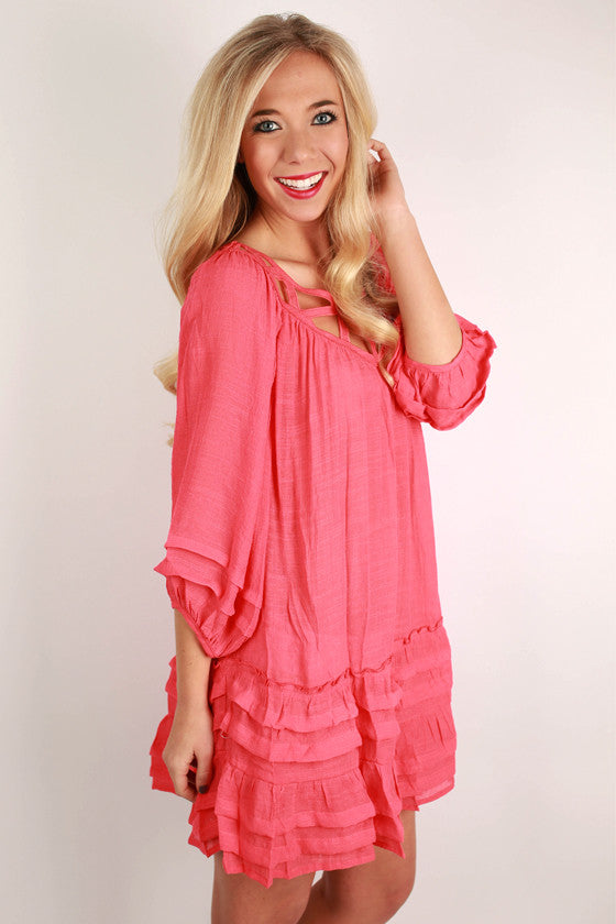 All The Rage in Ruffles Dress in Coral
