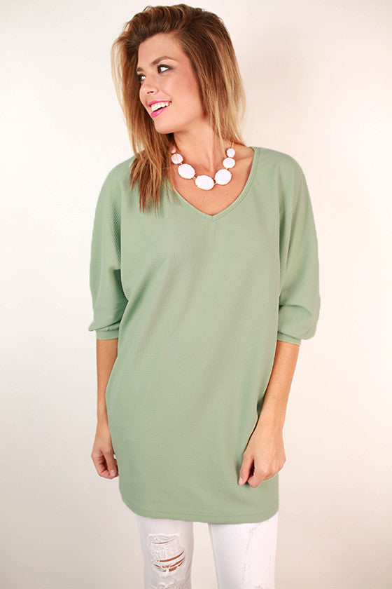 Feeling Electric Deep V-Neck Tunic in Mint