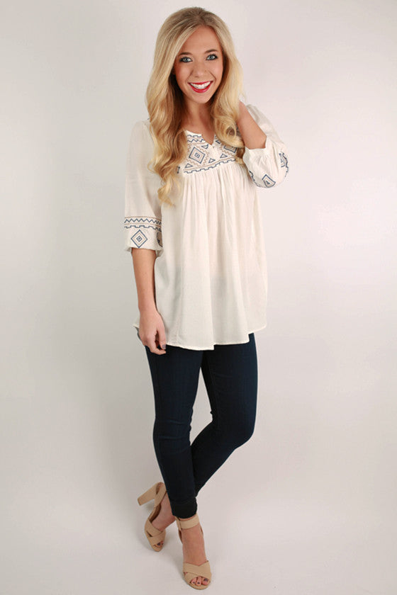 Austin Nights Embroidered Tunic in White