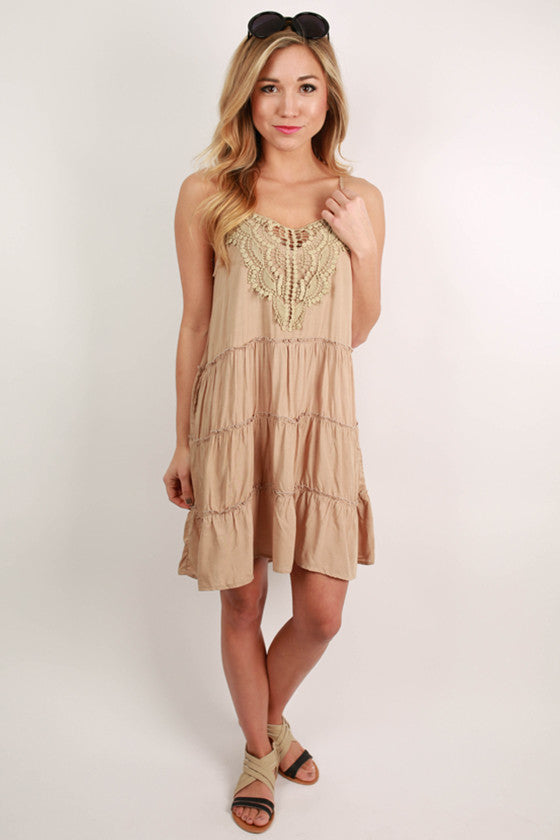 Find Me At The Festival Lace Tank Dress in Mocha