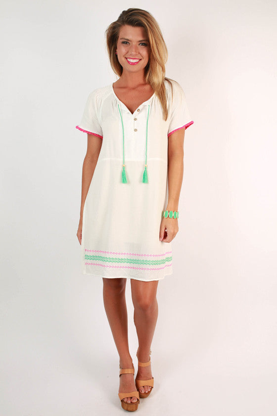 Bronzed & Beautiful Embroidered Day Dress in White