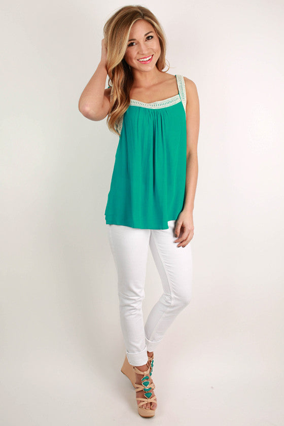 Love Me Like You Do Tank Top in Turquoise