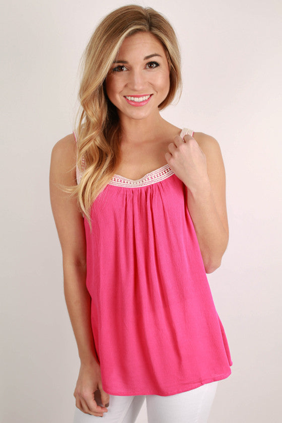 Love Me Like You Do Tank Top in Fuchsia