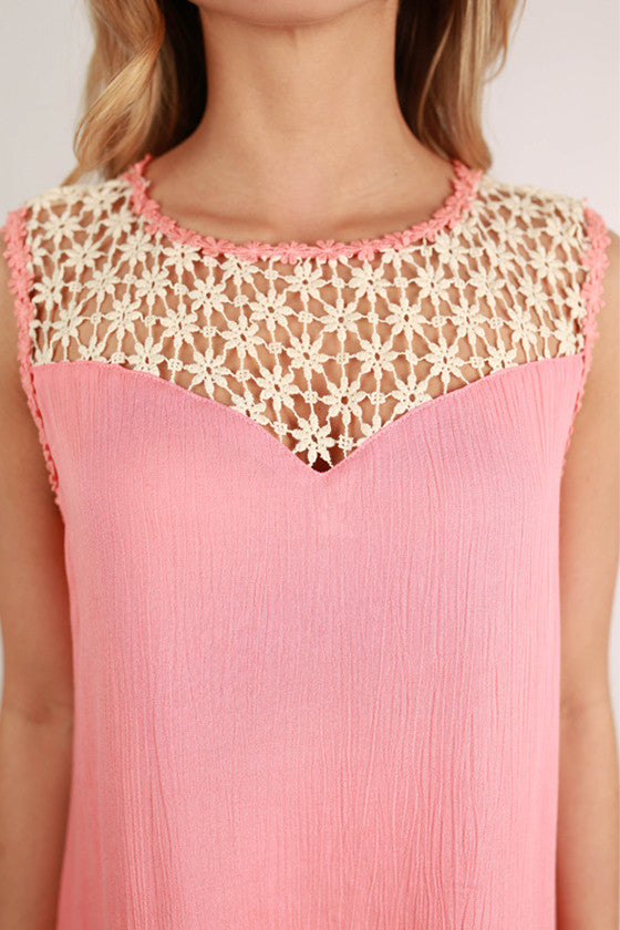 So Divine Floral Lace Shift Dress in Peach