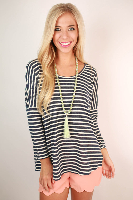 Extra Stripes Please Scoop Neck Knit Top in Navy