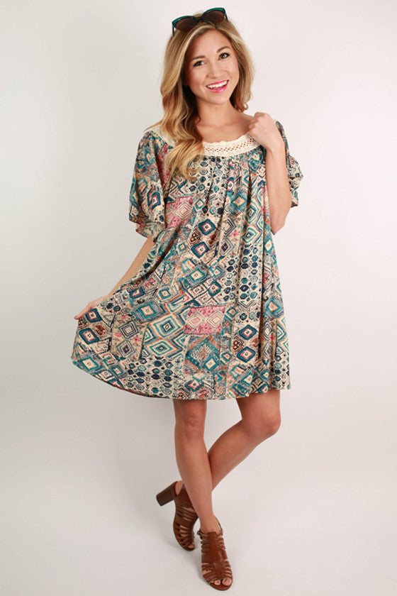 Call It Crochet Print Dress in Blue