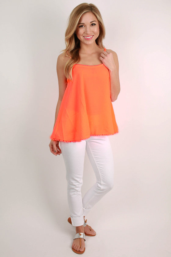 Extended Vacay Tank Top in Neon Coral