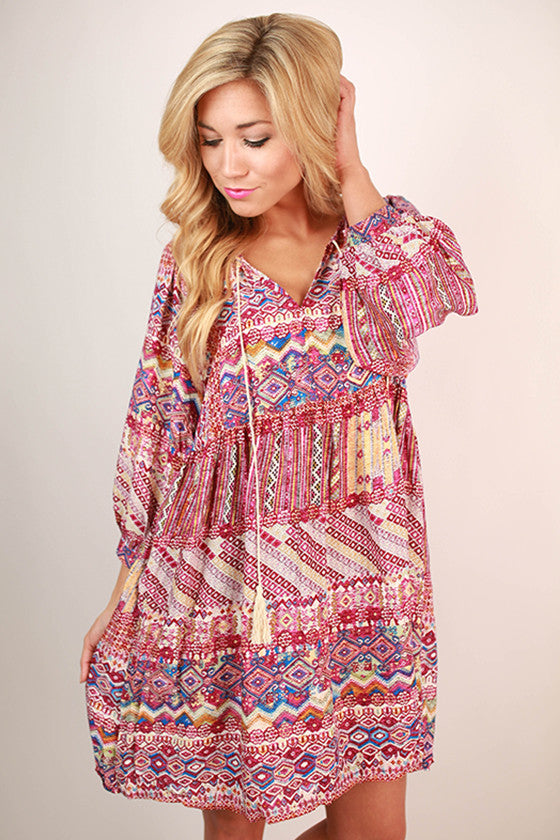 Sweet Like Sunsets Baby Doll Dress in Sangria